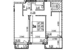 ЖК Грінвуд-2: планування 3-кімнатної квартири 125.4 м²