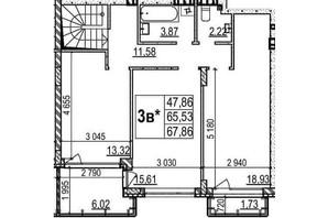 ЖК Грінвуд-2: планування 2-кімнатної квартири 125.5 м²