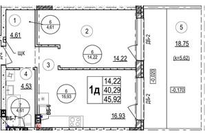 ЖК Грінвуд-2: планування 1-кімнатної квартири 45.9 м²