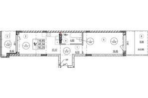ЖК Грінвуд-2: планування 1-кімнатної квартири 50.3 м²