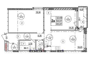 ЖК Грінвуд-2: планування 2-кімнатної квартири 65.8 м²