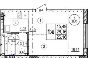 ЖК Грінвуд-2: планування 1-кімнатної квартири 26.2 м²