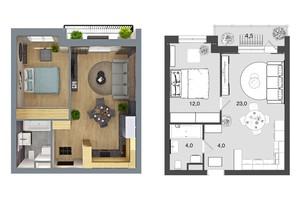 ЖК Грюнвальд: планировка 1-комнатной квартиры 46 м²