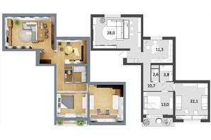 ЖК Грюнвальд: планировка 3-комнатной квартиры 92 м²
