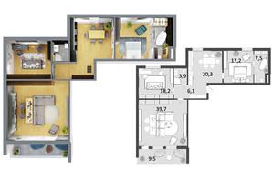 ЖК Грюнвальд: планировка 3-комнатной квартиры 116 м²