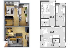 ЖК Грюнвальд: планировка 2-комнатной квартиры 67 м²