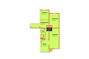 ЖК Громадянський посад: планування 3-кімнатної квартири 86.54 м²