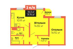ЖК Громадянський посад: планування 2-кімнатної квартири 54.5 м²
