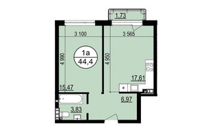 ЖК Гринвуд 2: планировка 1-комнатной квартиры 44.4 м²