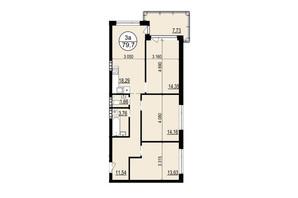 ЖК Гринвуд-2: планировка 3-комнатной квартиры 78.6 м²