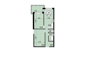 ЖК Гринвуд-2: планировка 2-комнатной квартиры 65.8 м²