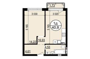 ЖК Гринвуд-2: планировка 1-комнатной квартиры 40.8 м²