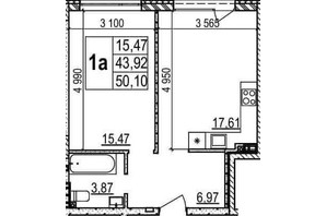 ЖК Гринвуд 2: планировка 1-комнатной квартиры 50.1 м²