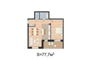 ЖК Гринвуд: планировка 2-комнатной квартиры 77.7 м²