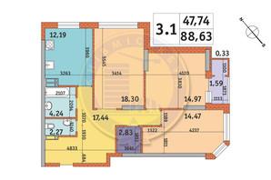 ЖК Гвардейский: планировка 3-комнатной квартиры 88.63 м²