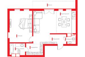 ЖК Happy House: планировка 2-комнатной квартиры 71.95 м²