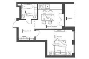 ЖК Happy House: планування 1-кімнатної квартири 39.42 м²