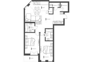 ЖК Happy House: планування 2-кімнатної квартири 85.18 м²