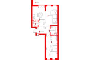 ЖК Happy House: планування 2-кімнатної квартири 69.44 м²