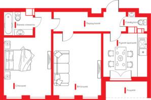 ЖК Happy House: планування 2-кімнатної квартири 63.95 м²