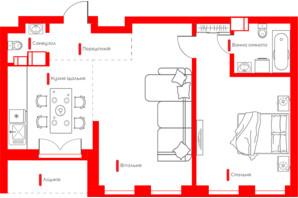 ЖК Happy House: планування 2-кімнатної квартири 65.11 м²