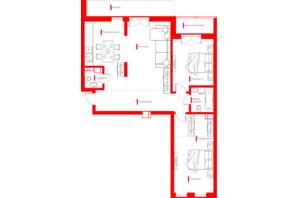 ЖК Happy House: планування 3-кімнатної квартири 99.06 м²