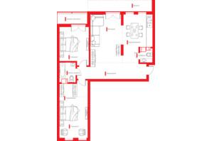 ЖК Happy House: планування 3-кімнатної квартири 100.42 м²