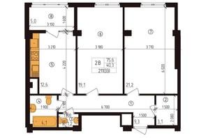 ЖК Henesi-house: планировка 2-комнатной квартиры 75.6 м²