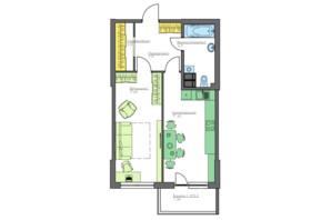 ЖК Home and Park Comfort House: планування 1-кімнатної квартири 53.5 м²