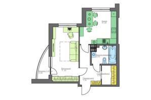 ЖК Home and Park Comfort House: планування 1-кімнатної квартири 46.62 м²