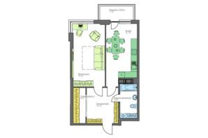 ЖК Home and Park Comfort House: планування 1-кімнатної квартири 57.87 м²