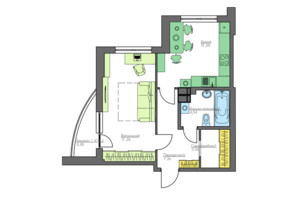 ЖК Home and Park Comfort House: планировка 1-комнатной квартиры 46.62 м²