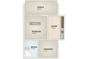 ЖК HydroPark DeLuxe: планування 1-кімнатної квартири 52.7 м²