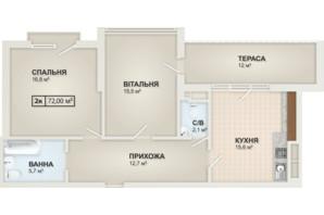 ЖК HydroPark DeLuxe: планування 2-кімнатної квартири 72 м²