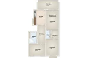 ЖК HydroPark DeLuxe: планування 3-кімнатної квартири 97.7 м²