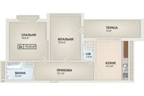 ЖК HydroPark DeLuxe: планування 2-кімнатної квартири 70.3 м²
