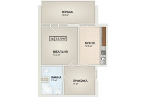 ЖК HydroPark DeLuxe: планировка 1-комнатной квартиры 52.7 м²