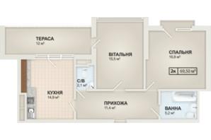 ЖК HydroPark DeLuxe: планировка 2-комнатной квартиры 69.5 м²