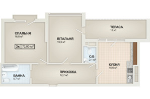 ЖК HydroPark DeLuxe: планировка 2-комнатной квартиры 72 м²
