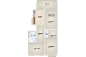 ЖК HydroPark DeLuxe: планировка 3-комнатной квартиры 97.7 м²