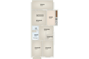 ЖК HydroPark DeLuxe: планировка 3-комнатной квартиры 82.9 м²