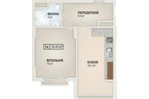 ЖК HydroPark DeLuxe: планировка 1-комнатной квартиры 45.4 м²