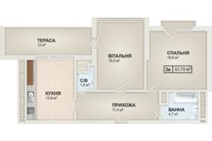ЖК HydroPark DeLuxe: планировка 2-комнатной квартиры 61.7 м²