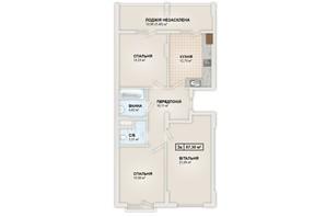 ЖК HydroPark DeLuxe: планировка 3-комнатной квартиры 87.3 м²