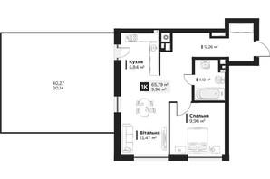 ЖК Hygge: планування 1-кімнатної квартири 65.79 м²