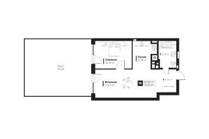 ЖК Hygge: планування 1-кімнатної квартири 61.95 м²