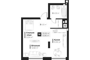 ЖК Hygge: планування 1-кімнатної квартири 35.92 м²