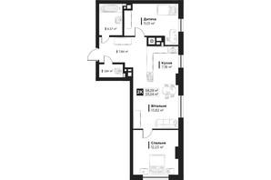 ЖК Hygge: планировка 2-комнатной квартиры 58.29 м²