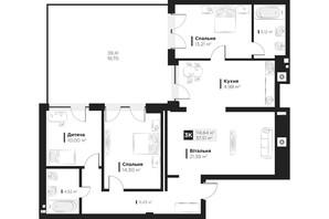 ЖК Hygge148: планировка 4-комнатной квартиры 114.64 м²