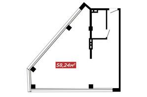 ЖК IT-парк Manufactura Next: планування 1-кімнатної квартири 58.24 м²